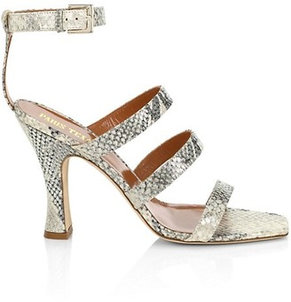 Paris Texas Ankle-Cuff Lame Python-Embossed Leather Sandals