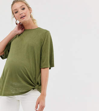 Asos DESIGN Maternity relaxed t-shirt with knot side-Green