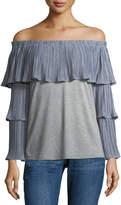 Neiman Marcus Tiered-Sleeve Off-the-Shoulder Tee