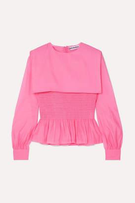 Molly Goddard Penny Ruffled Shirred Organza Top - Pink