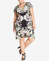 City Chic Trendy Plus Size Tapestry-Print Tunic Dress