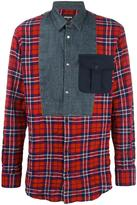 DSQUARED2 mixed material checked shirt - men - Cotton/Spandex/Elastane - 46