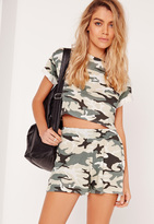 Missguided Petite Exclusive Camo Print Runner Shorts Khaki