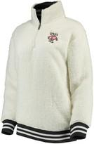 Unbranded Women's Cream Wisconsin Badgers Varsity Banded Sherpa Quarter-Zip Pullover Jacket
