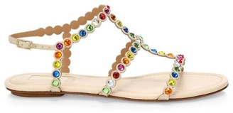Aquazzura Tequila Rainbow Crystal-Embellished Leather Flat Sandals