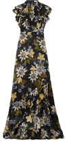 Erdem Riva Ruffled Printed Silk-chiffon Gown - Black