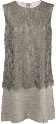 Dolce & Gabbana Pre Owned Lace Panel Short Dress