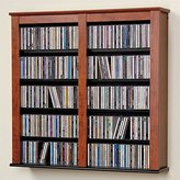 Christian Dior Prepac Double Floating DVD Media Wall Storage in Cherry and Black