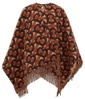 Burberry Tb Monogram Wool-blend Poncho - Womens - Brown
