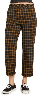 Dickies Work Plaid High Waist Straight Leg Crop Pants