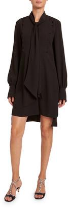 Chloé Satin-Back Crepe Short-Sleeve Dress