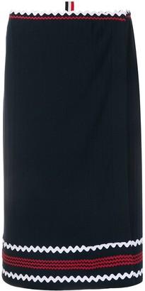 Thom Browne Cricket Stripe Zig Zag wrap skirt