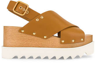 Stella McCartney Percy Platform Sandals in Light Tan | FWRD