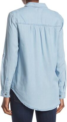 BeachLunchLounge Avery Pocket Button Front Chambray Tunic Shirt