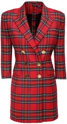 Balmain Stretch Tartan Mini Jacket Dress