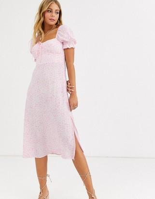 Faithfull The Brand Faithfull evelyn floral square neck short sleeve midi dress-Pink