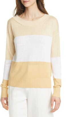 Club Monaco Stripe Boatneck Linen Blend Sweater