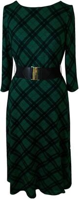 Sandra Darren Plaid 3/4 Sleeve Midi Dress