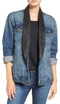 Current/Elliott Women's Leather Lapel Boyfriend Denim Jacket