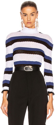 Chloé Striped Ruffle Sweater in Iconic Milk | FWRD