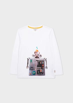 Paul Smith 8-10 Years White 'Robot' Print Long-Sleeve T-Shirt
