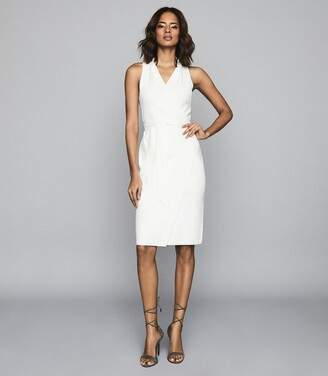 Reiss Macy - Knitted Wrap-effect Dress in White