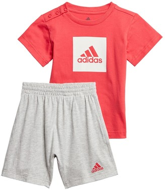 adidas Cotton T-Shirt/Shorts Outfit with Logo on front, 3 Months-4 Years