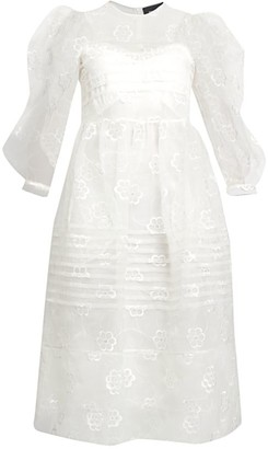 Simone Rocha Daisy Organza Puff-Sleeve Dress