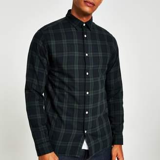 River Island Mens Selected Homme dark Green check shirt