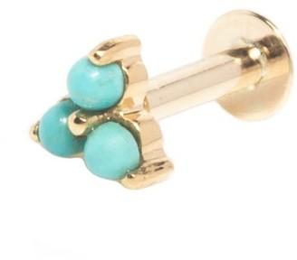 Zohreh V. Jewellery Turquoise Trilogy Flat Back Earring 9K Gold