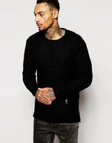 Religion Longline Textured Knitted Jumper With Zips - Black