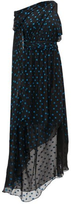 Dundas Asymmetrical Polka-dot Silk-blend Dress - Black Blue