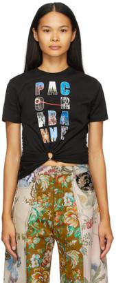 Paco Rabanne Black Block Logo Gathered T-Shirt