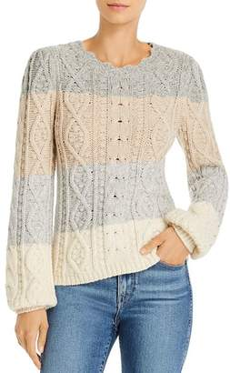 Rebecca Taylor Color-Blocked Cable Knit Sweater