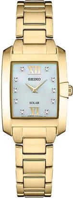 Seiko Women Solar Dress Sport Diamond-Accent Gold-Tone Stainless Steel Bracelet Watch 24mm