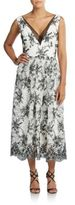 Vera Wang Two-Tone Embroidered Lace Dress