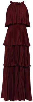 True Decadence Burgundy Tiered Pleated Maxi Dress