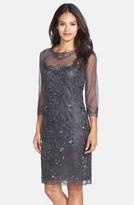 Pisarro Nights Women's Beaded Mesh Sheath Dress