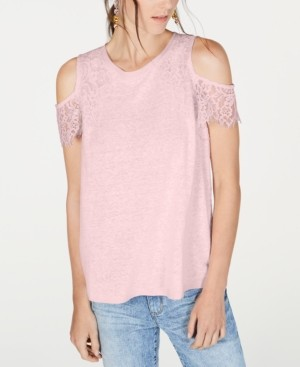 INC International Concepts Inc Lace Linen-Blend Cold-Shoulder Top, Created for Macy's