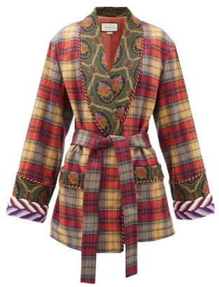 Gucci Shawl-lapel Checked Wool-blend Wrap Jacket - Womens - Beige Multi
