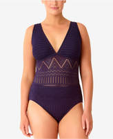 Anne Cole Plus Size Crochet All Day Underwire One-Piece Swimsuit