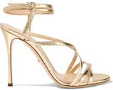 Sergio Rossi Metallic Snake-Effect Leather Sandals