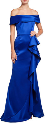 Rickie Freeman For Teri Jon Cuffed Off-the-Shoulder Side-Ruffle Satin Gown