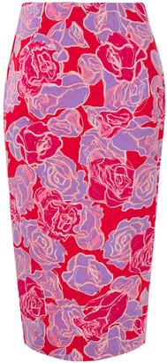 Diane von Furstenberg Printed Stretch-jersey Midi Skirt