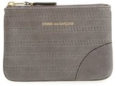 Comme des Garcons Men's Embossed Leather Top Zip Pouch Wallet - Black