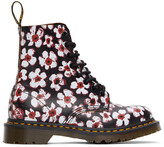 Thumbnail for your product : Dr. Martens Black & Red Floral 1460 Pascal Boots