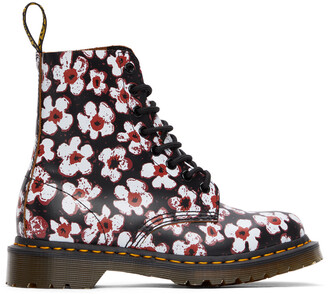 Dr. Martens Black & Red Floral 1460 Pascal Boots