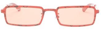 Balenciaga Paris-print Rectangular Acetate Sunglasses - Red