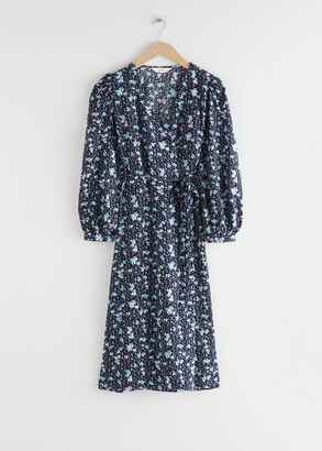 And other stories Puff Sleeve Wrap Midi Dress