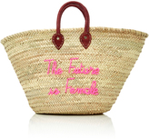 Poolside M'O Exclusive Shorty Embroidered Straw Tote